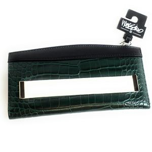 Green Faux Snake Skin Wallet Snap Card Holder New